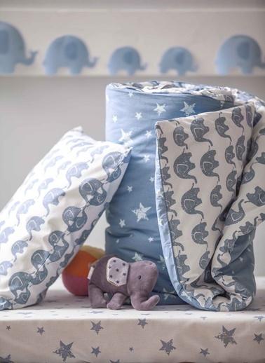 Hibboux 100x150 Elephant Bebek Nevresim + Yastık Kılıfı - Blue Mavi